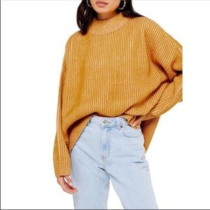 TOPSHOP mustard mock neck knit sweater size 4-6
